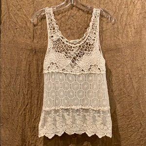 Iris Los Angeles bohemian cream crochet tank top